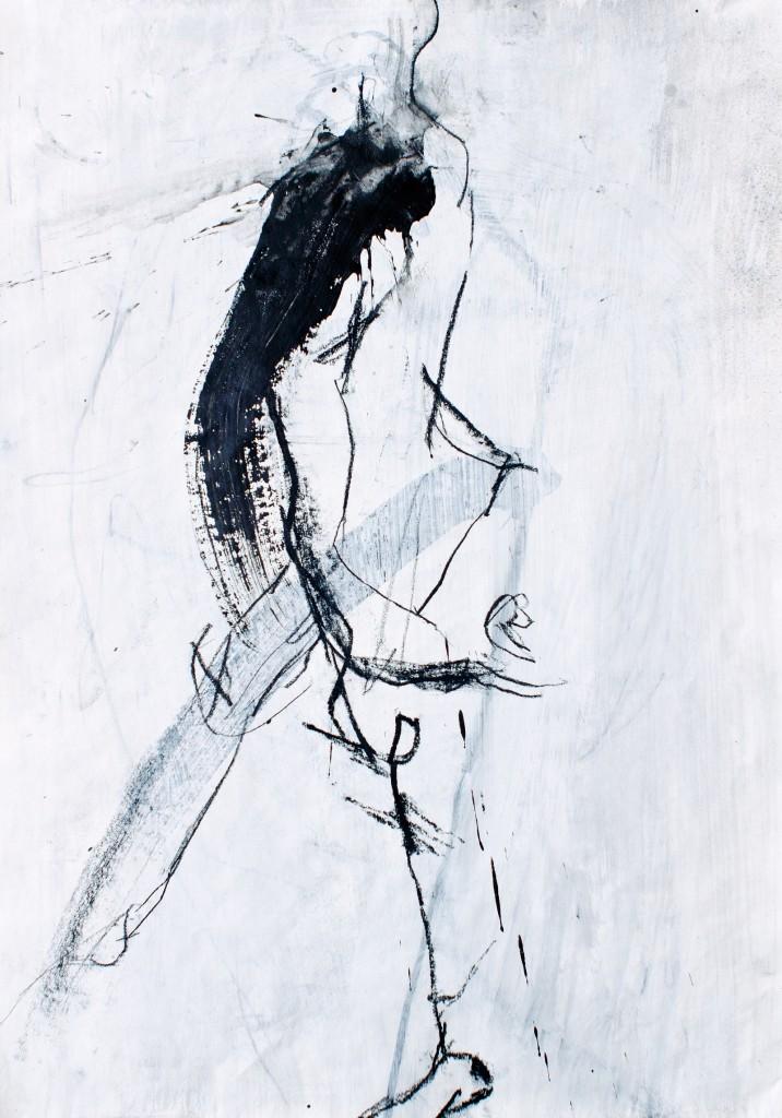 2011, Kohle und Acryl auf Packpapier, 63 x 44 cm