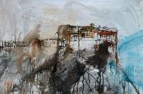 """""""Kloster auf Athos"""" / Griechenland, 2012, Mischtechnik auf Packpapier, 44 x 64 cm"""