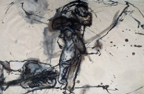 """""""Träger"""" / Nepal, 2006, Stabiloton und Acryl auf handgeschöpftem Seidelbastpapier, 54 x 82 cm"""