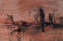 """""""Straße der Kasbahs"""" / Marokko, 2010, Mischtechnik auf Packpapier, 44 x 62 cm"""