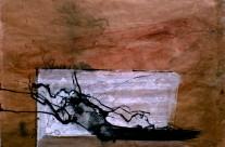 2010, Kohle, Acryl und Tusche auf Packpapier, 44 x 63 cm