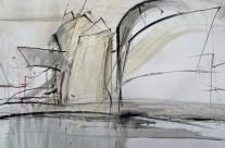 """Guggenheimmusum in Bilbao"" / Spanien, 2012, Mischtechnik auf Papier, 44 x 64 cm"