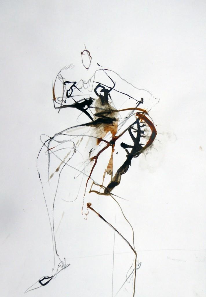 2015, Farbstift und Tusche auf Papier, 42x30 cm