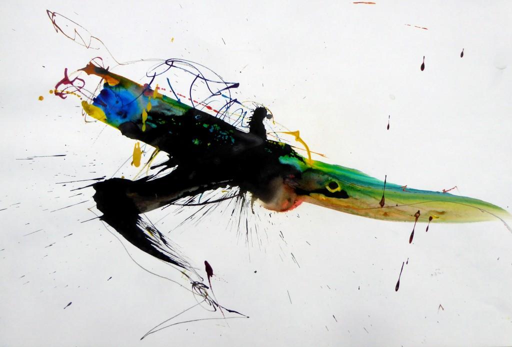 2017, Farbstift und Tusche auf Papier, 43x63 cm