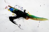 2017, Farbstift und Tusche auf Papier, 43×63 cm