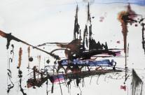 """""""Kathedrale in Brünn""""/Tschechien: 2017, Bleistift und Tusche auf Papier, 21 x 30 cm"""