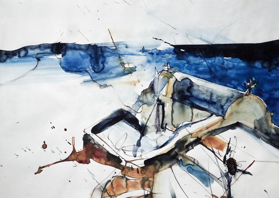 """""""Haus auf Santorin""""/Griechenland: 2009, Aquarell auf Papier, 37 x 35 cm"""