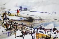 """""""Karlsbrücke in Prag""""/Tschechien: 2018, Farbstift und Tusche auf Papier, 37 x 46 cm"""