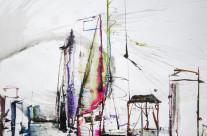 """""""Skyline von Shanghai""""/China: 2016, Farbstift und Tusche auf Papier, 43 x 62 cm"""