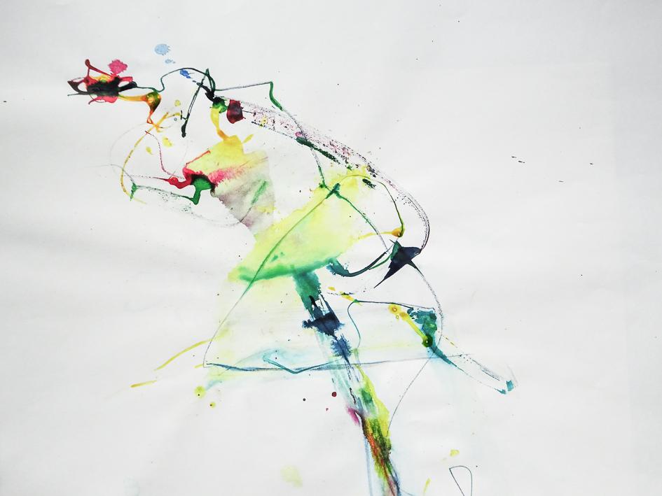 Farbstift und Tusche auf Papier, 37 x 46 cm, 2016