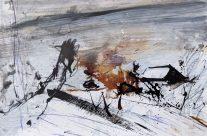 """""""Hommage an Lovis Corinth/Serien Walchensee"""", 2020, Mischtechnik auf Papier, 28 x 37 cm"""